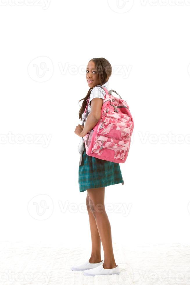 högskolestudent afrikansk amerikansk kvinna foto