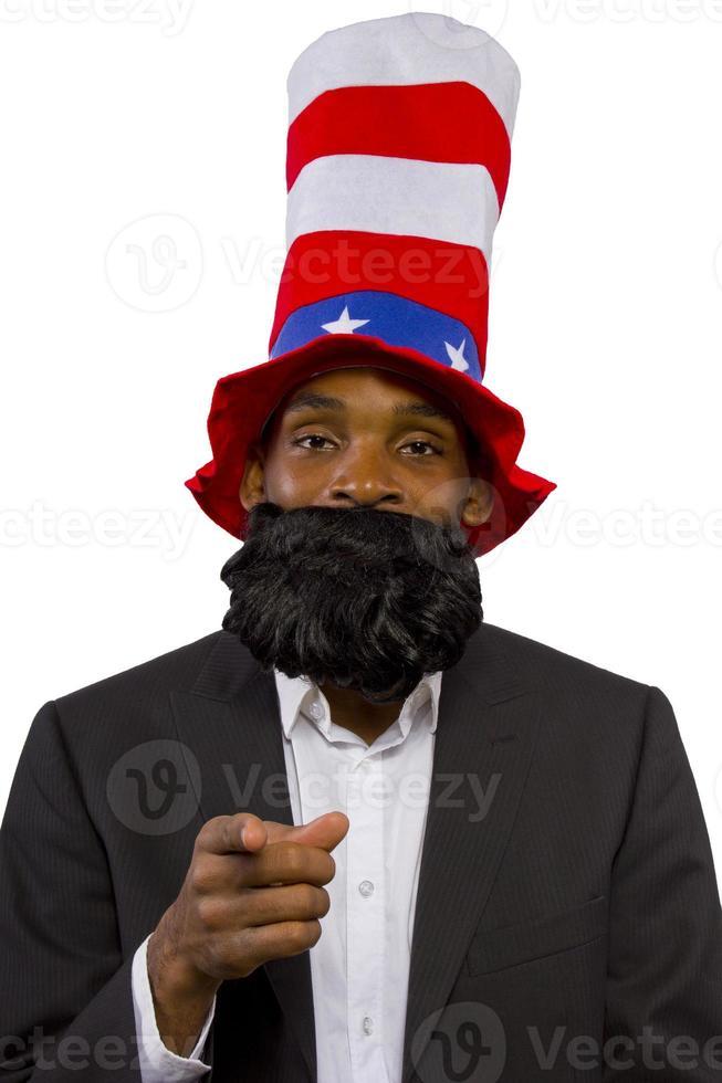 svart afroamerikansk man klädd som farbror sam foto