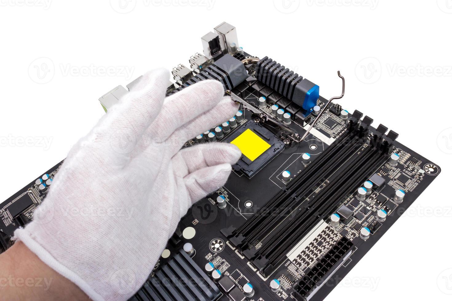 elektronisk insamling - installation av processor foto