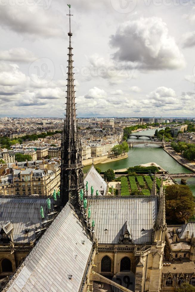 panorama över paris från katedralen tornet notre dame de paris. foto