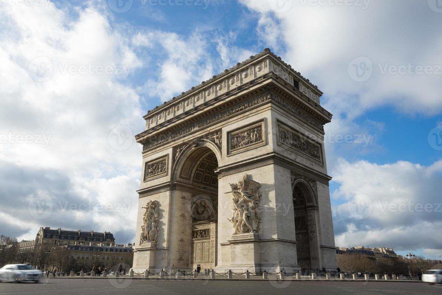 paris, champs-elysees, arc de triomphe foto