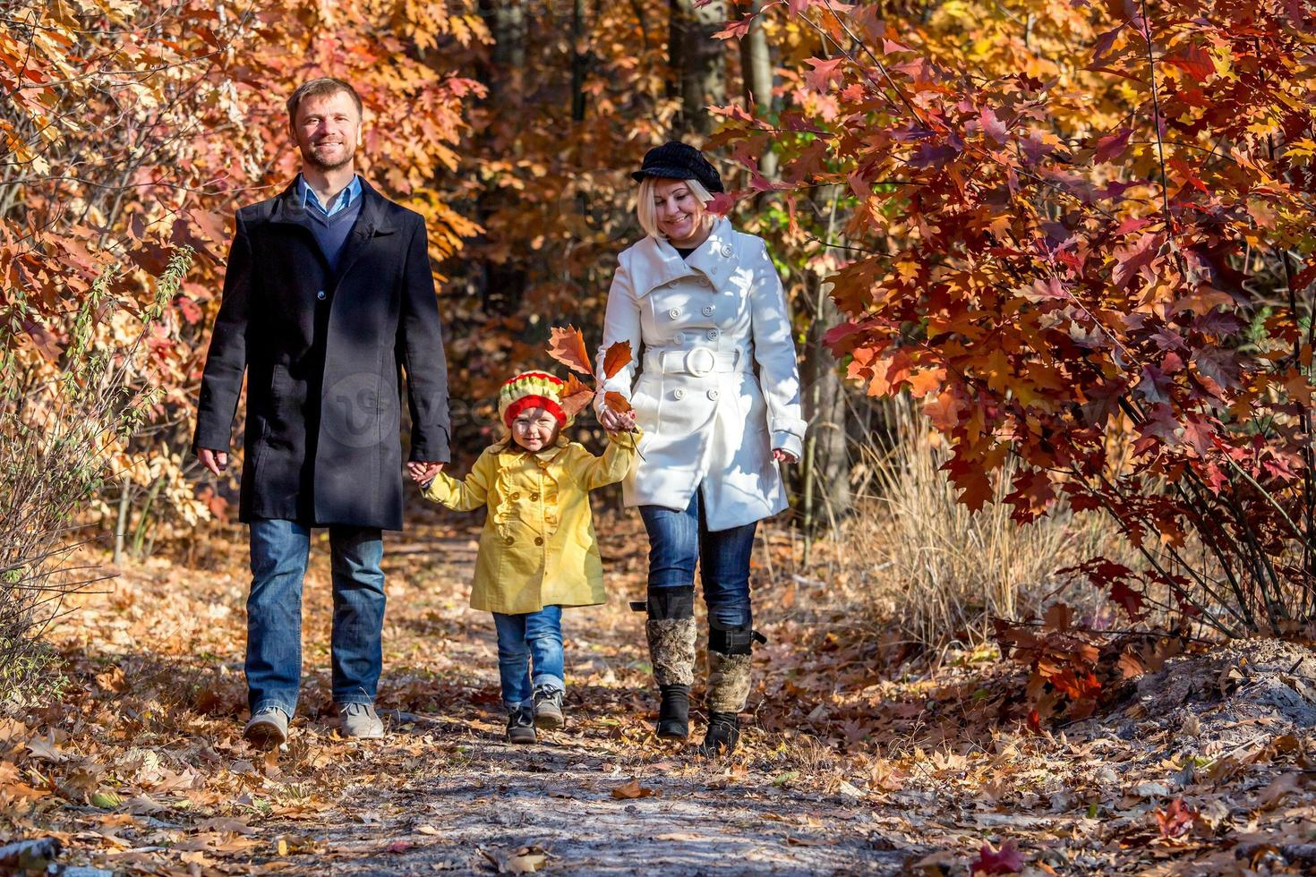 två generationers familj som går i höstlig skog framifrån foto