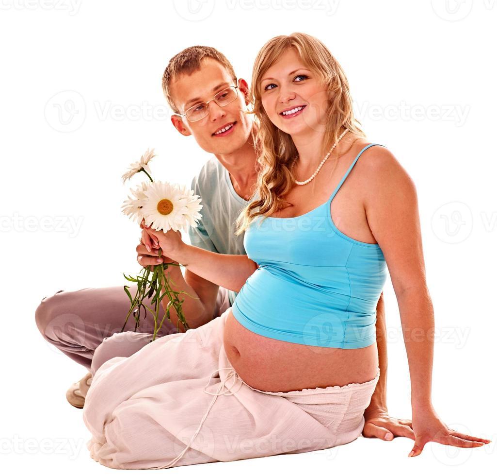 gravid kvinna med make foto