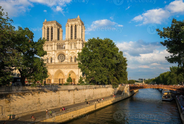 Notre Dame katedral på sent på kvällen foto