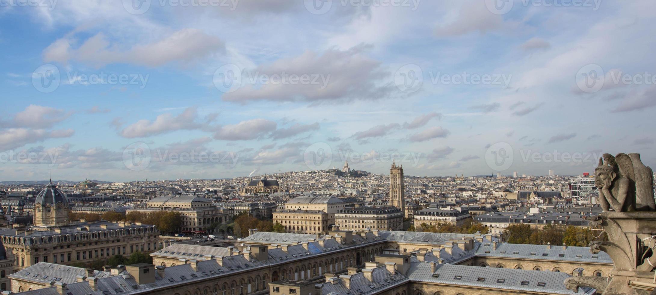 utsikt över Paris från övre Notre Dame foto