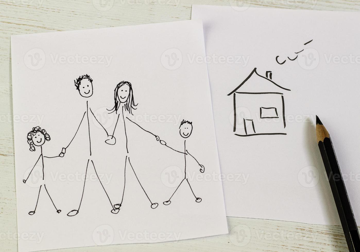 familj och hus foto