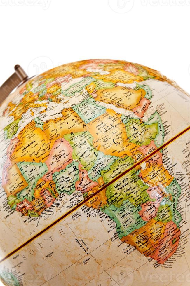 ett jordklot som visar afrika foto