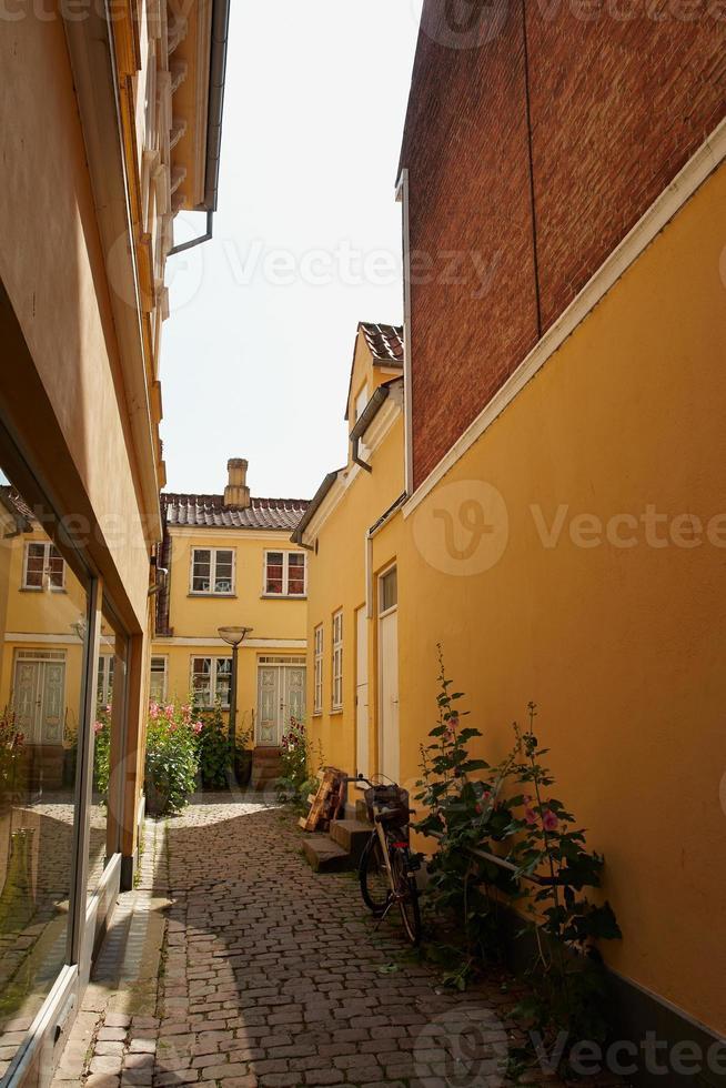 färgade traditionella danska hus foto