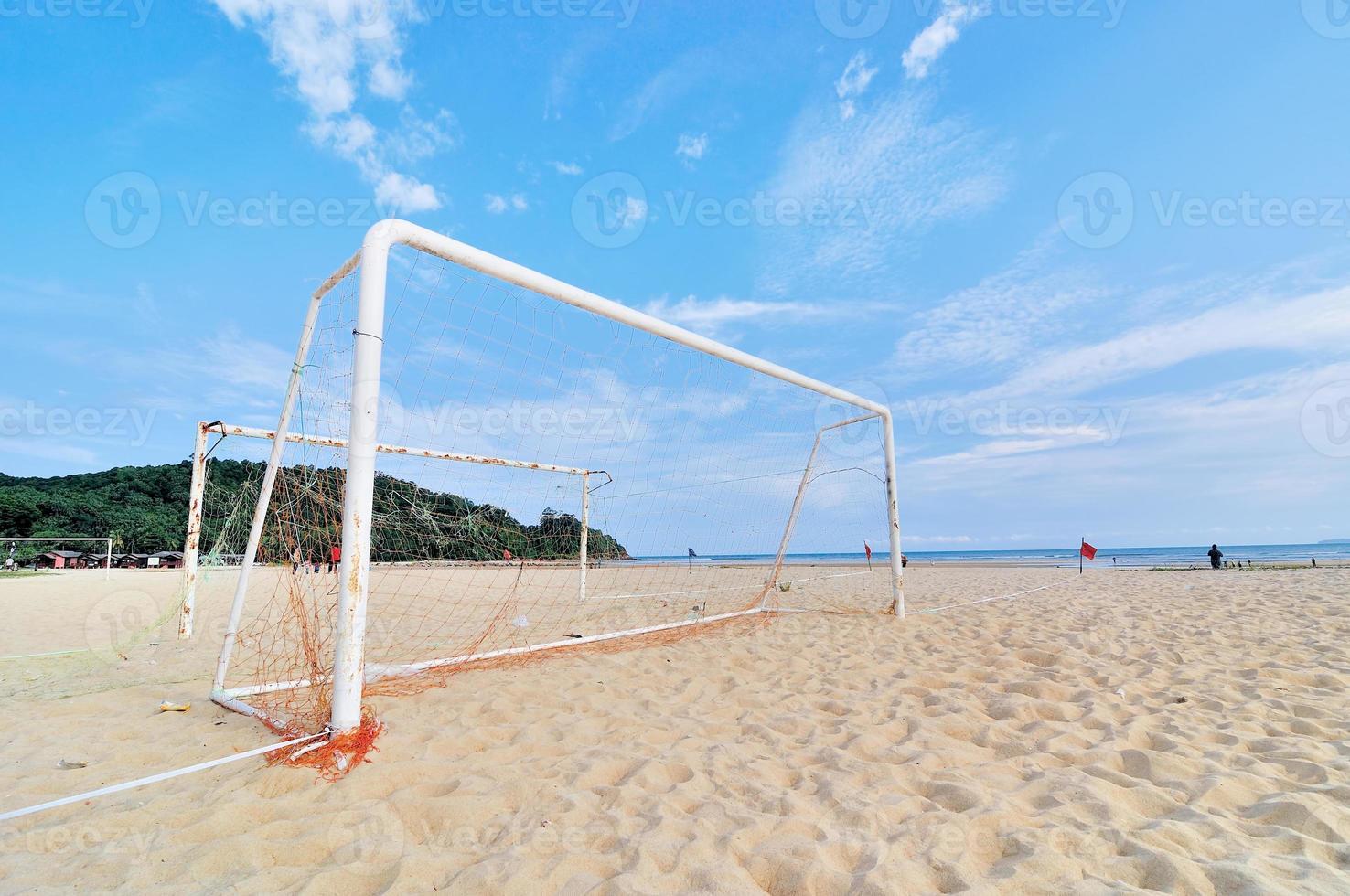 målstolpe på stranden foto
