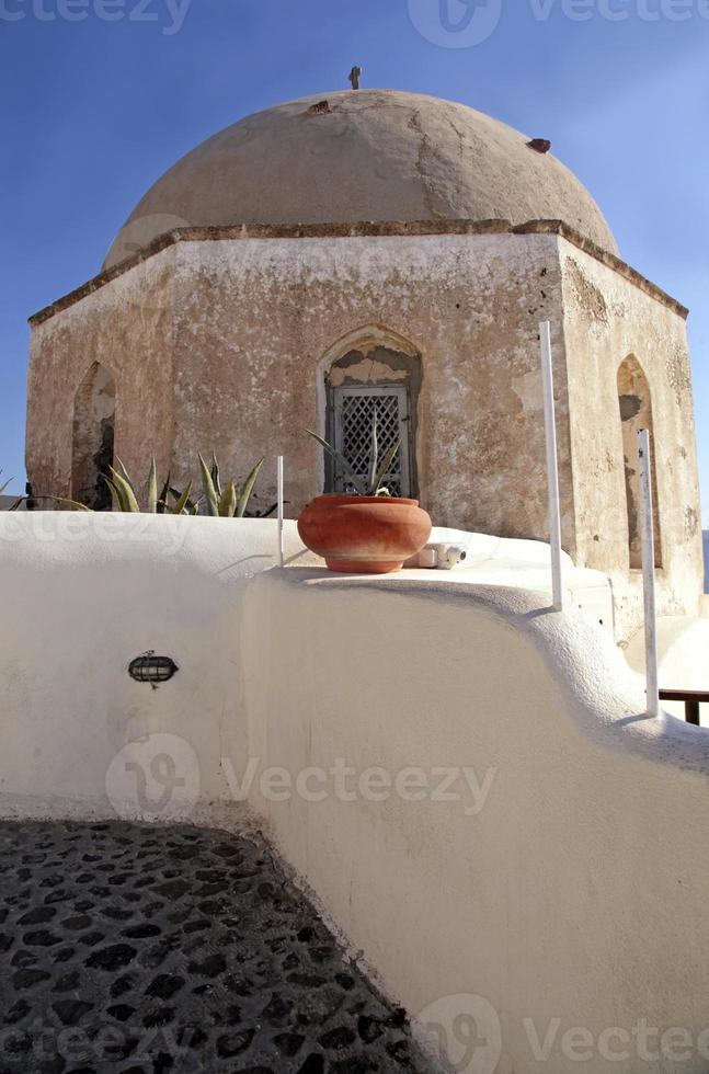 forntida kyrka på santoriniön, cykladerna, Grekland. foto