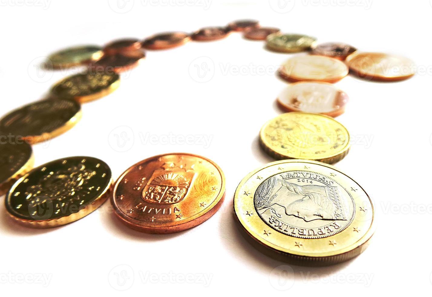 euro pengar hem - eurocenter och mynt foto