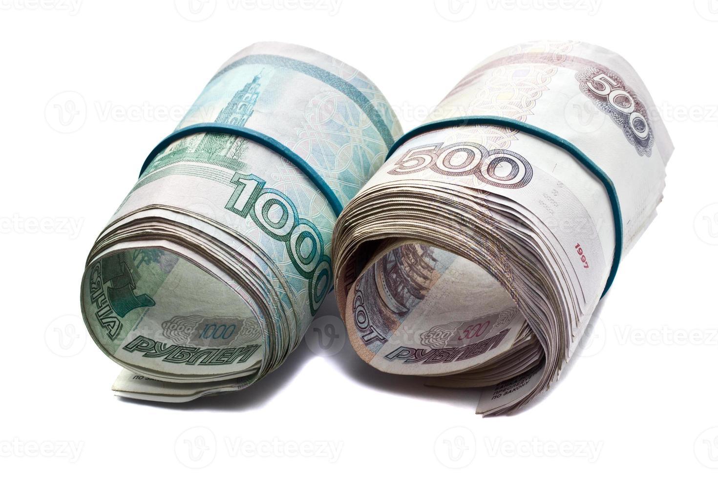 ryska räkningar häftade gummiband foto