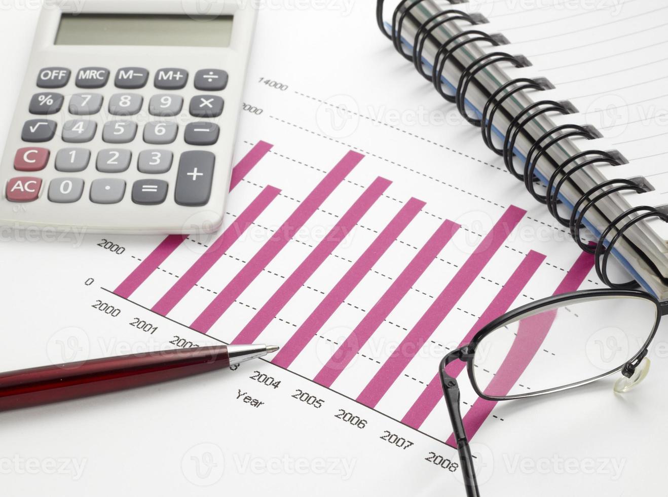 affärsdiagram diagram aktiemarknaden kontorsskrivbord finans foto