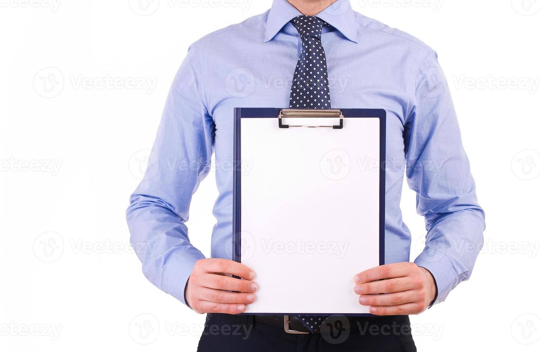 affärsman som håller en Urklipp. foto