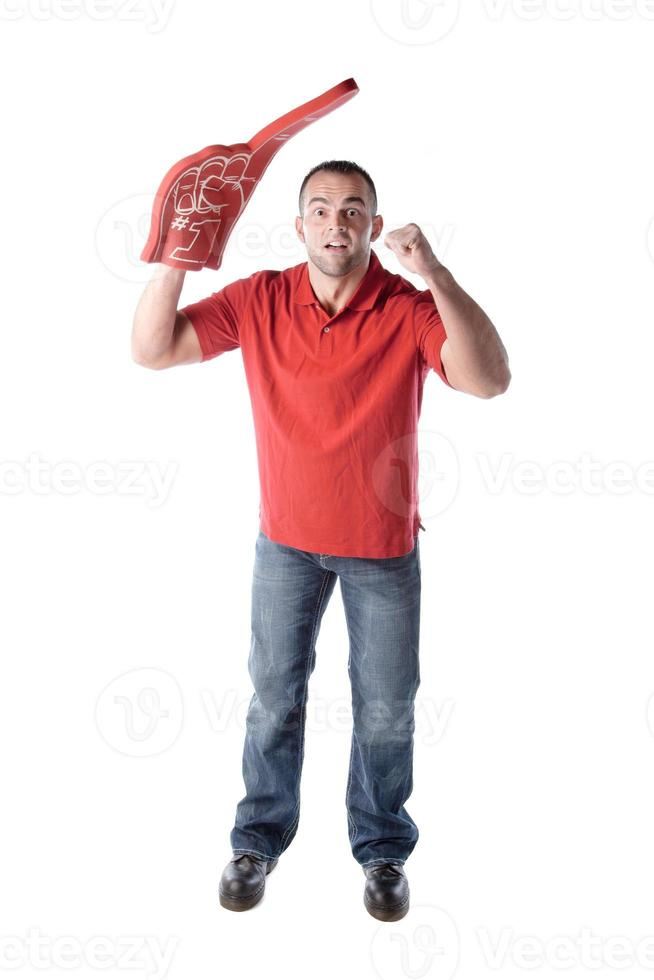 sportfans: kaukasisk man nummer ett jublande lag färg röd foto