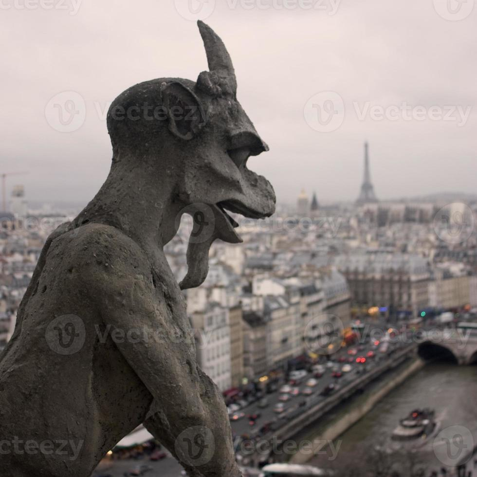berömda Notre Dame gargoyle foto