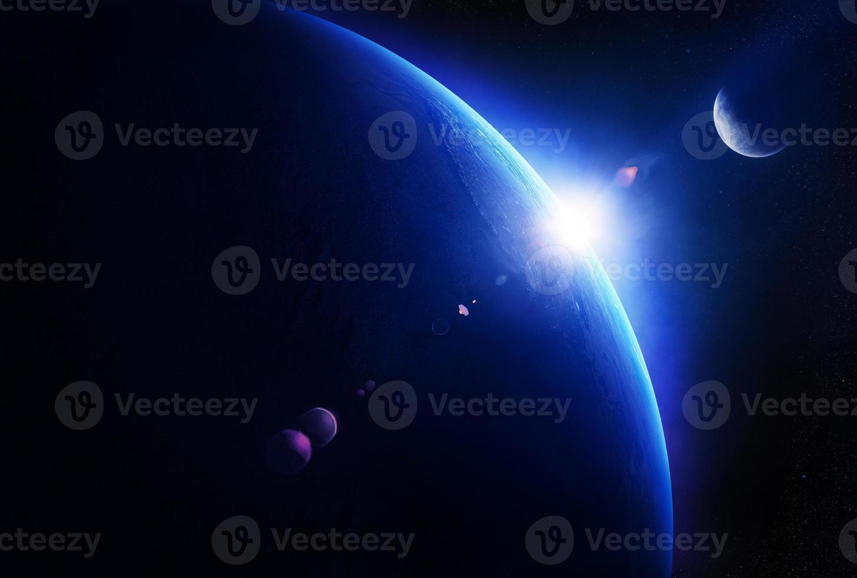 jord soluppgång med månen i rymden foto