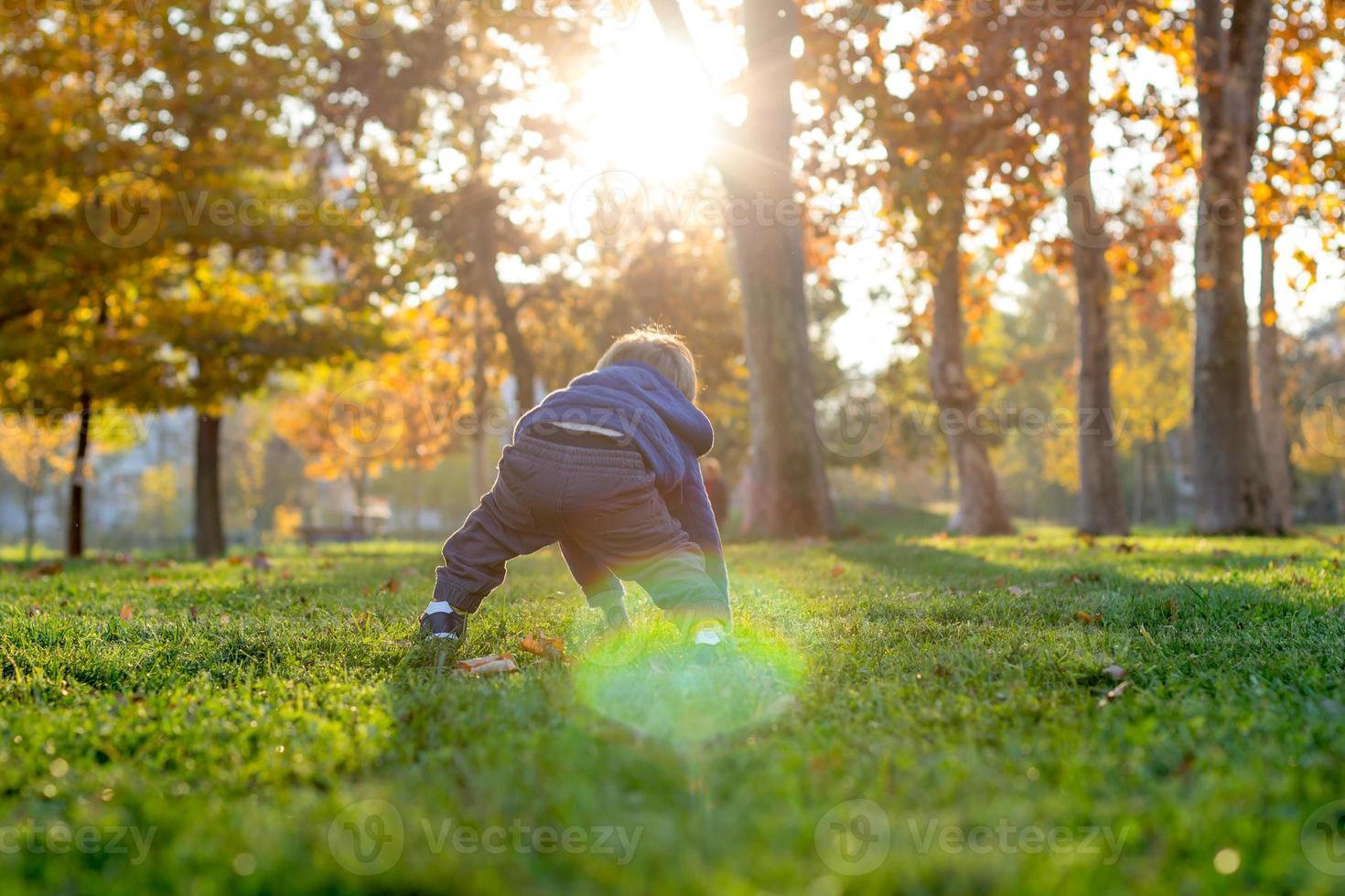 2 år gammal pojke står upp i parken foto