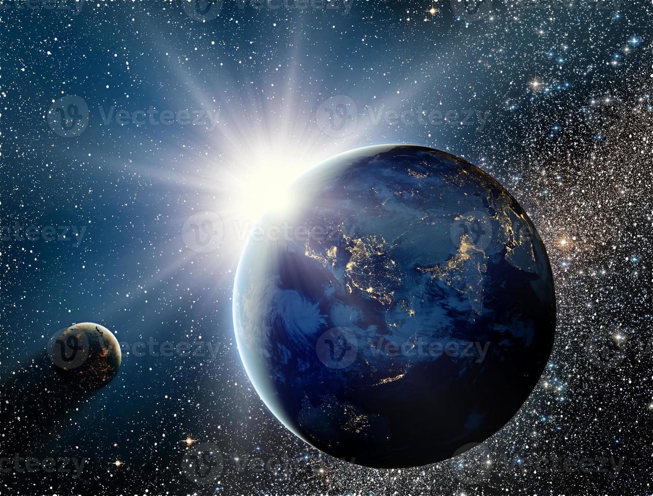 soluppgång över planeten och satelliter i rymden. foto