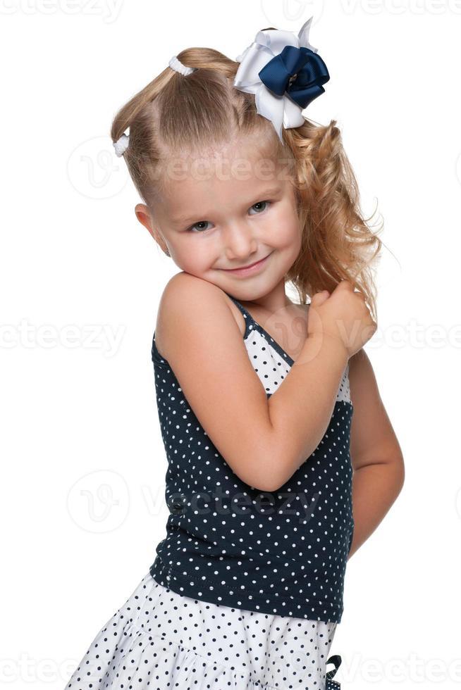 porträtt av en bedårande liten flicka foto