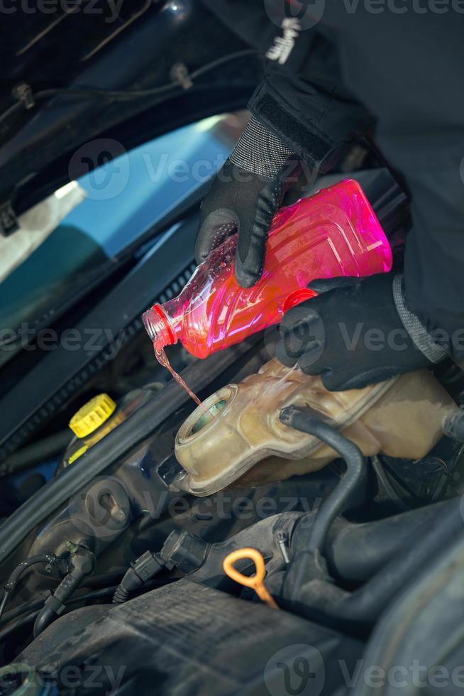 fylla fordonsradiatorn med frostskyddsmedel foto