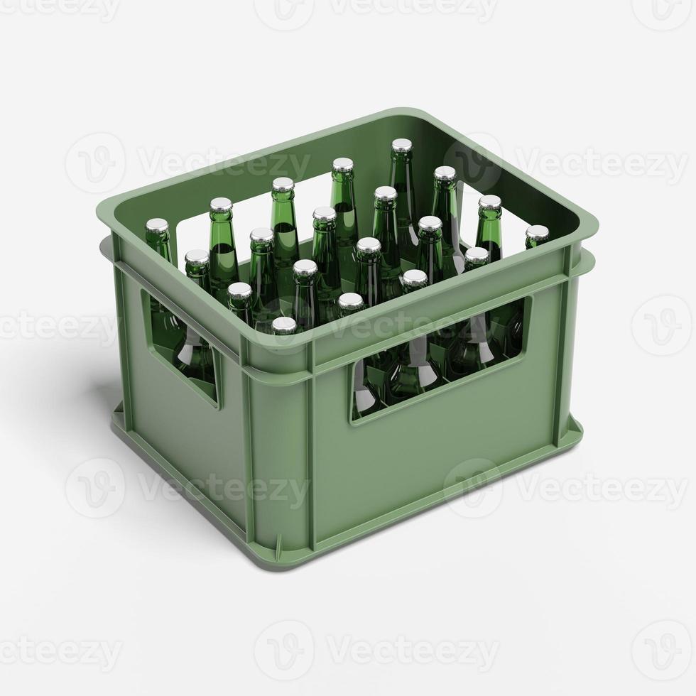 dricka låda med ölflaskor foto