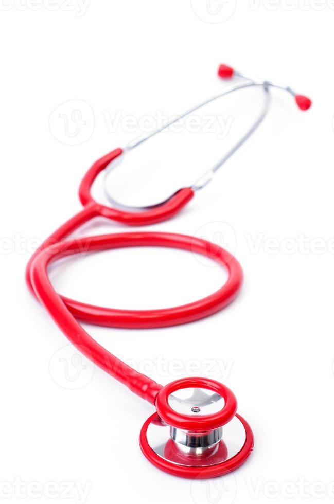 rött stetoskop foto