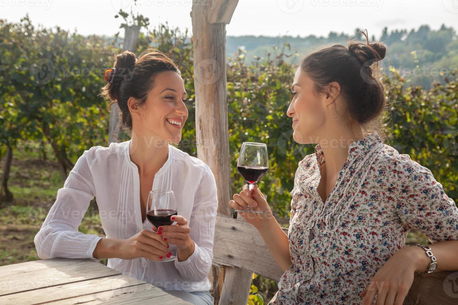 två unga kvinnor som dricker vin foto