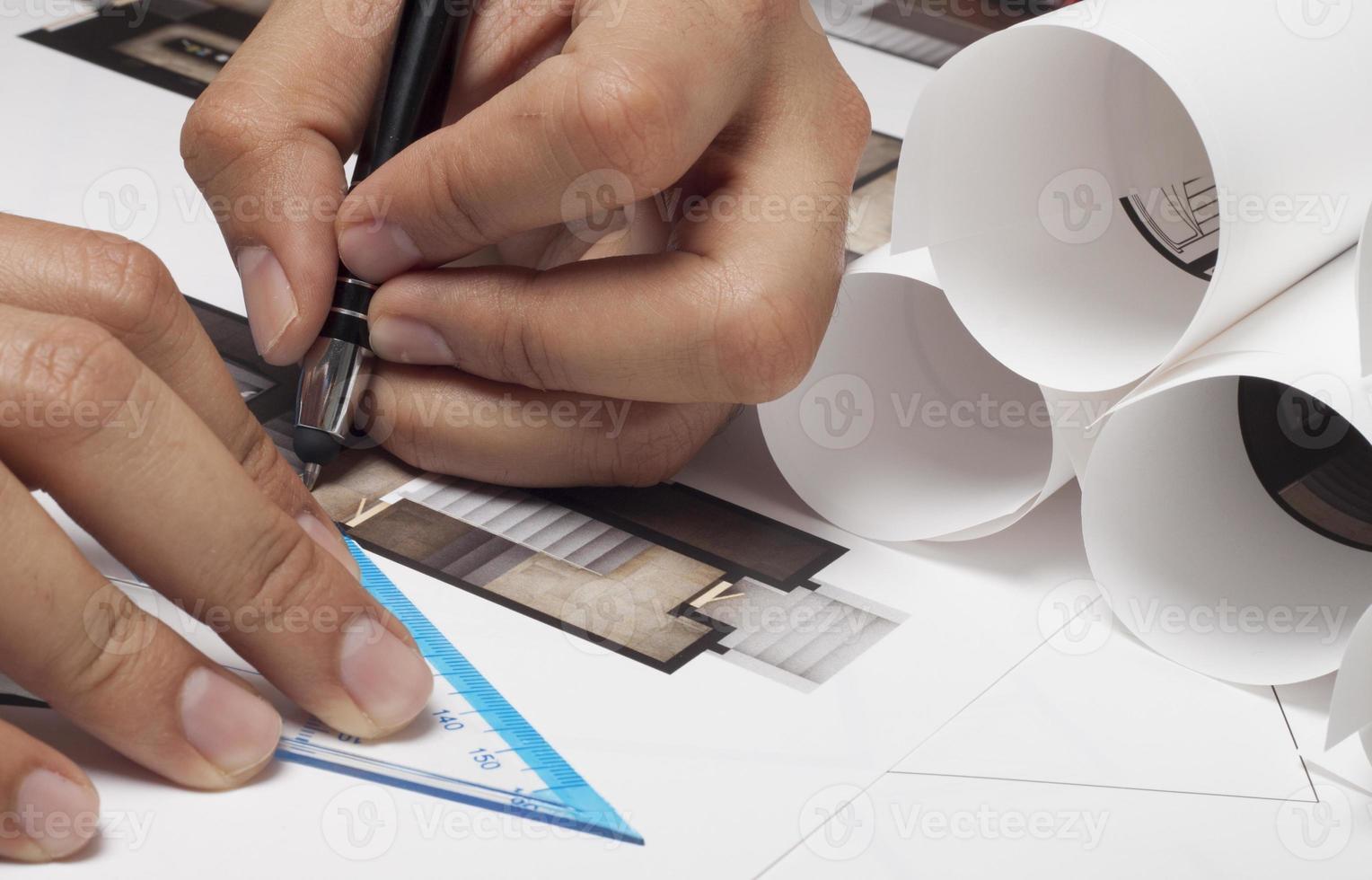 arkitekt ritning foto