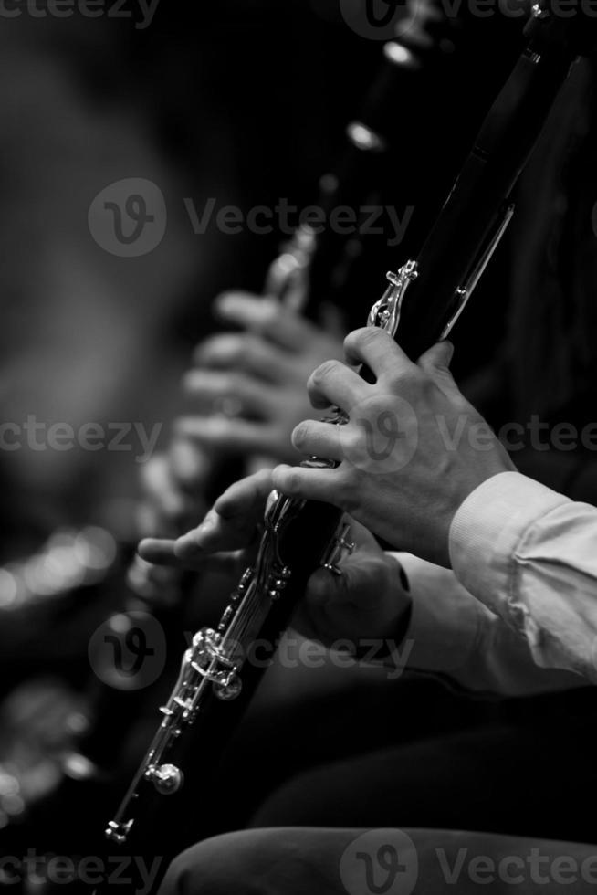 mänsklig hand spelar klarinetten foto