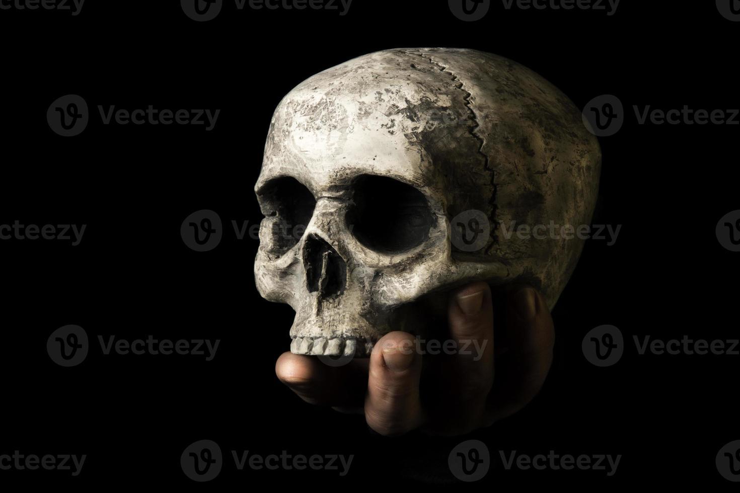 mänsklig skalle och hand foto