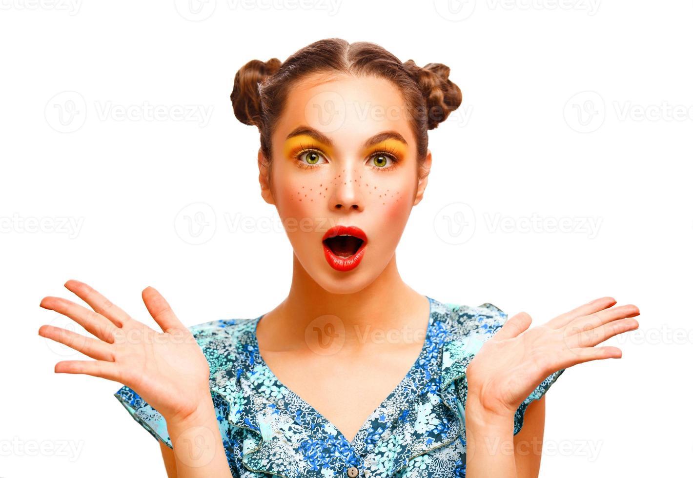 skönhet förvånad tonåring modell flicka foto