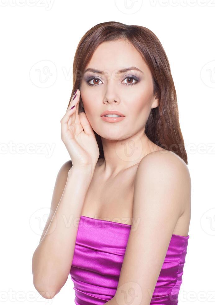 skönhet kvinna modell brunett tjej isolerad foto