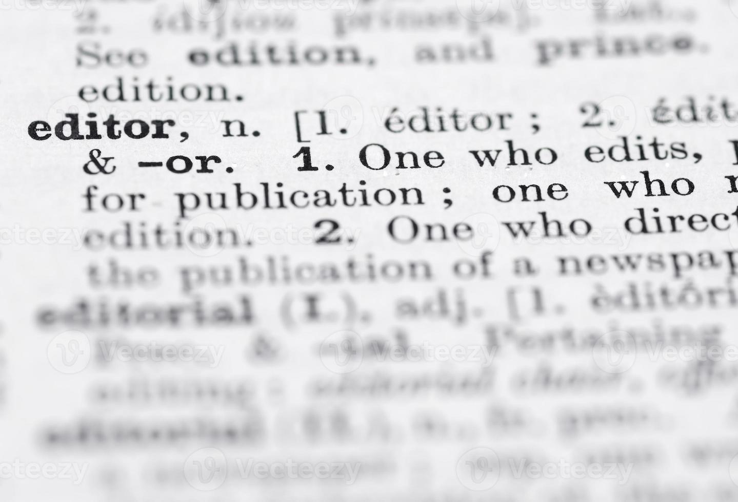 redaktörs definition i engelsk ordbok. foto