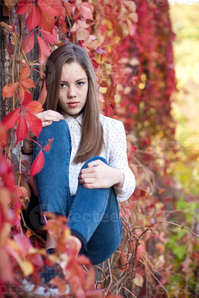 ung flicka i vacker höst park, koncept höst foto