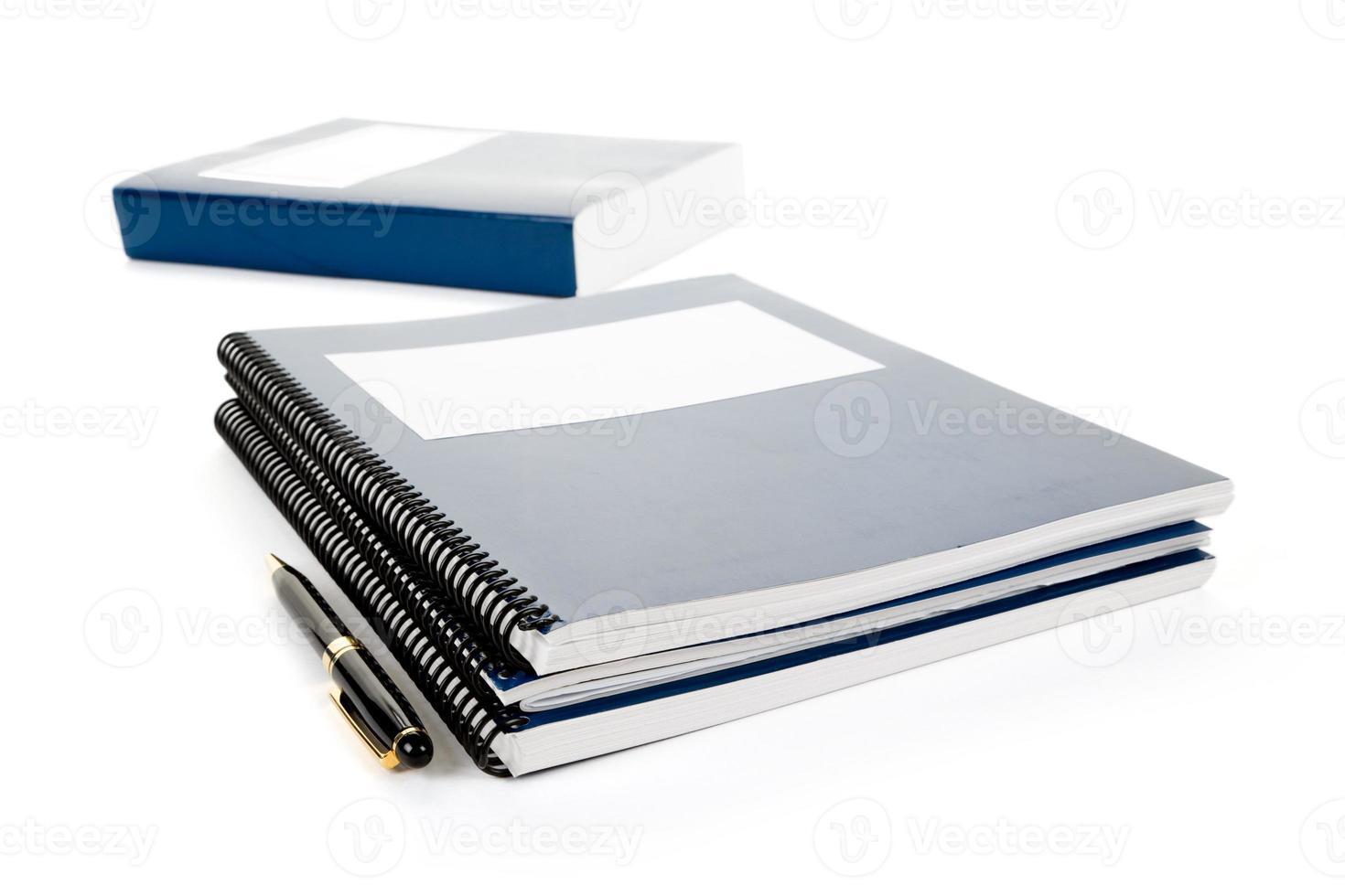 blå skolbok foto