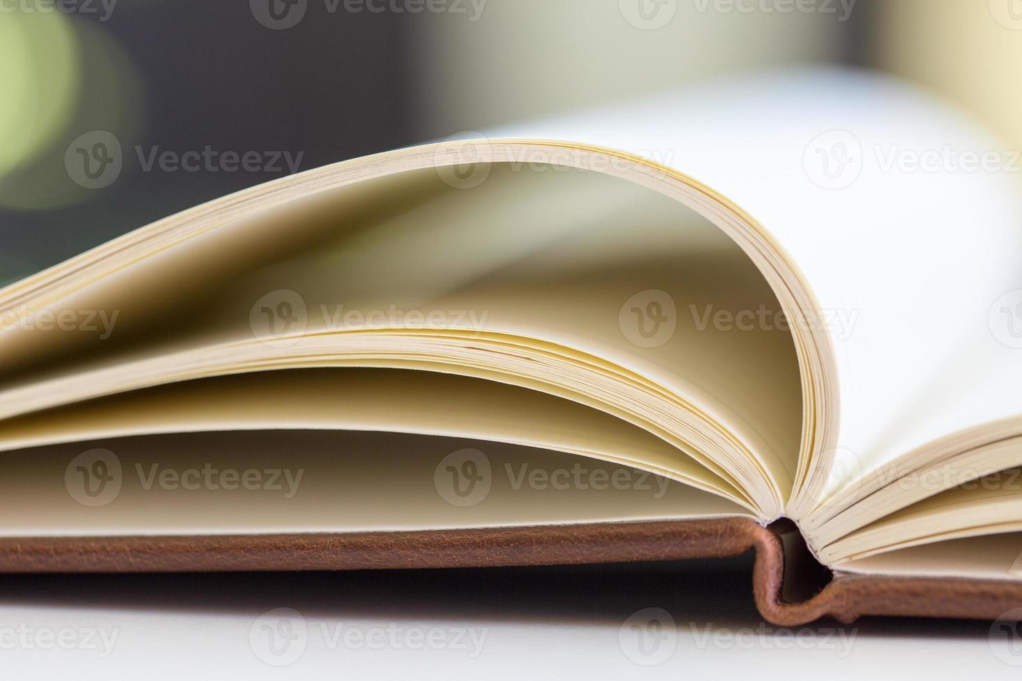 närbild på öppna bokssidor foto