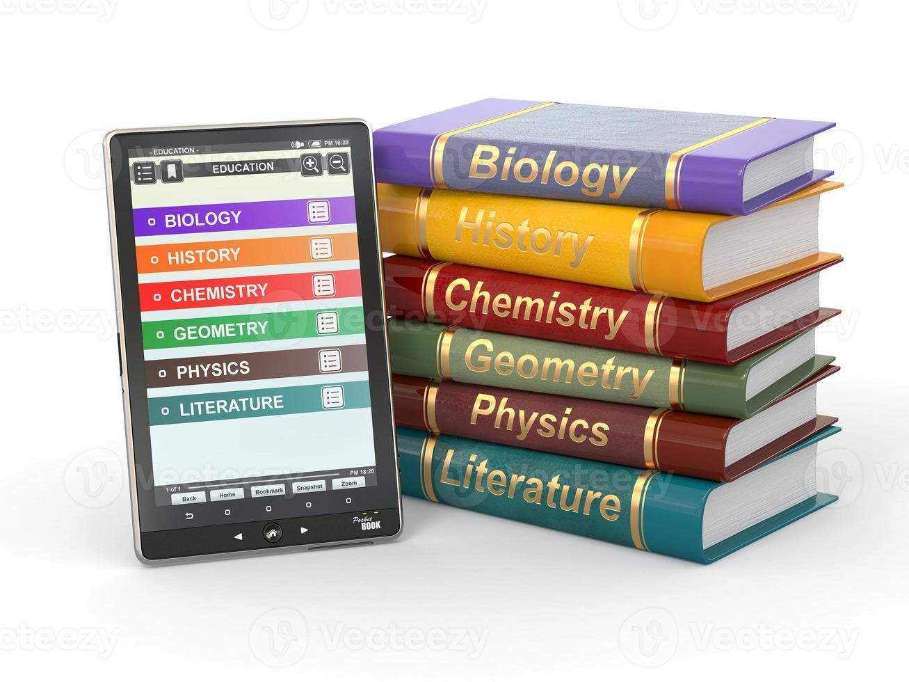 eboksläsare. läroböcker och surfplatta foto