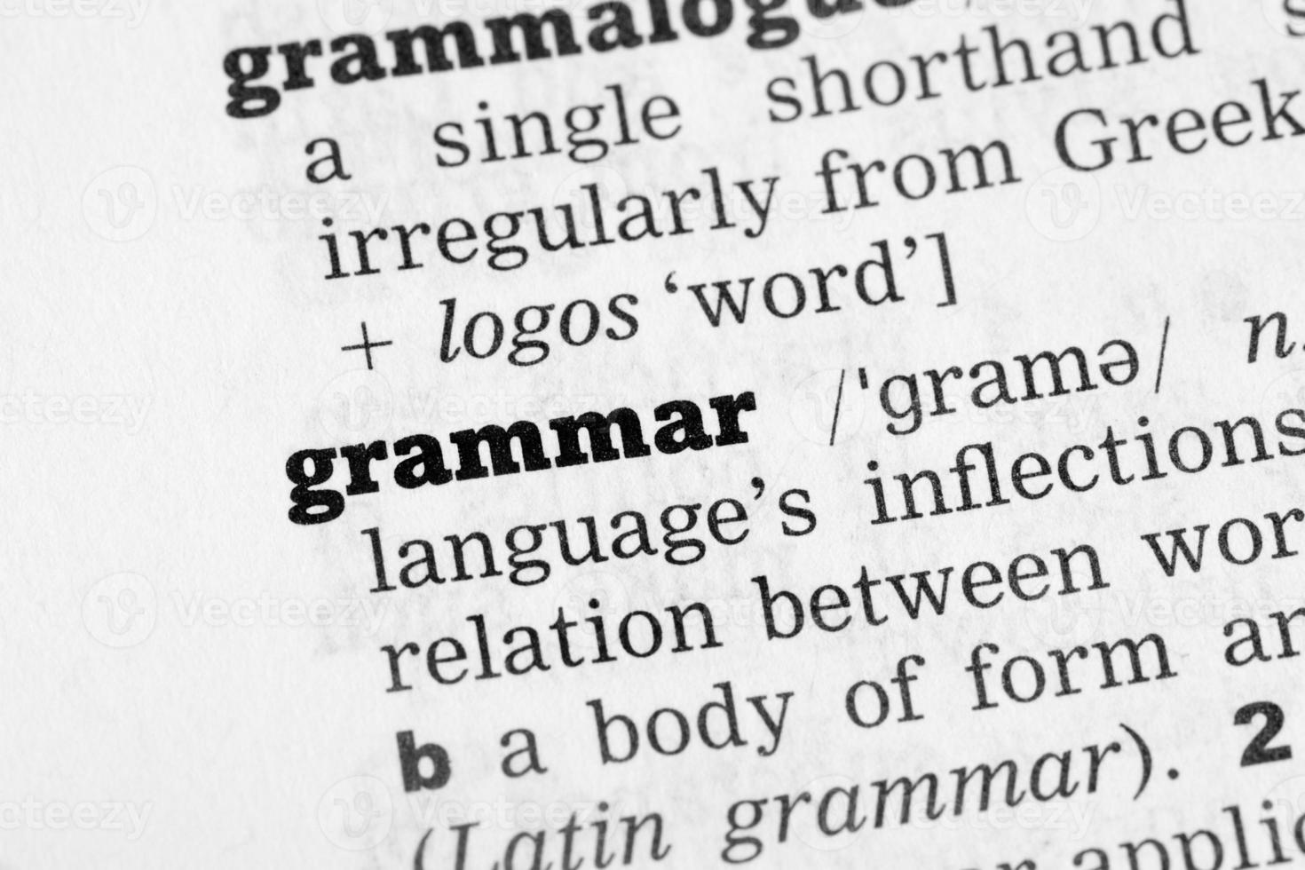 grammatik ordbok definition foto