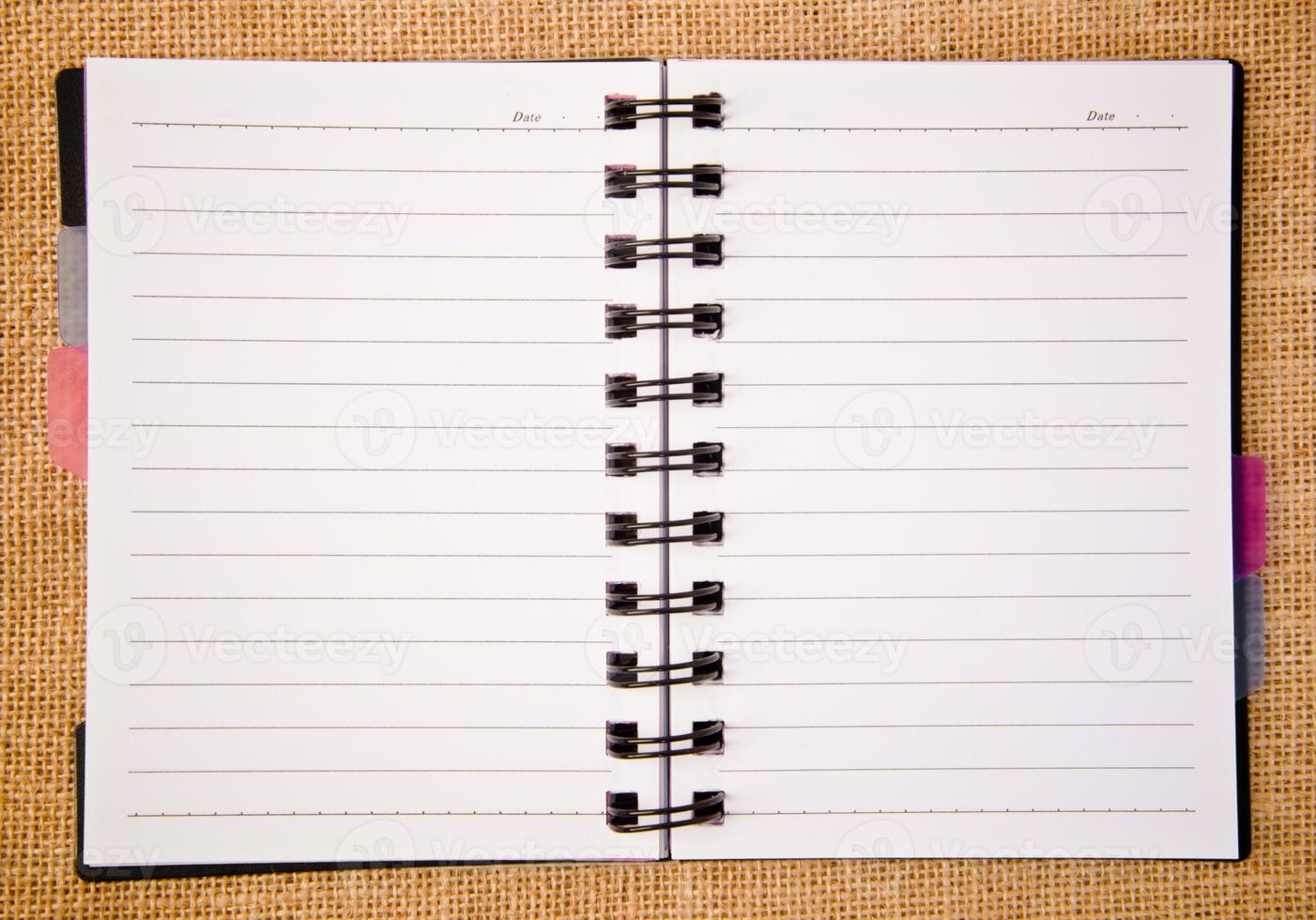 öppet bindemedel för dagbok foto