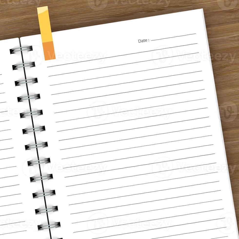 Tom anteckningsbok isolerad på vitt foto