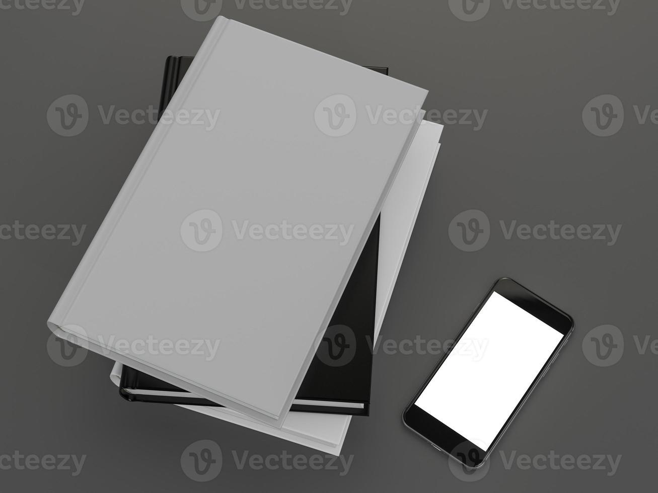 mockup av boken med ett vitt omslag foto