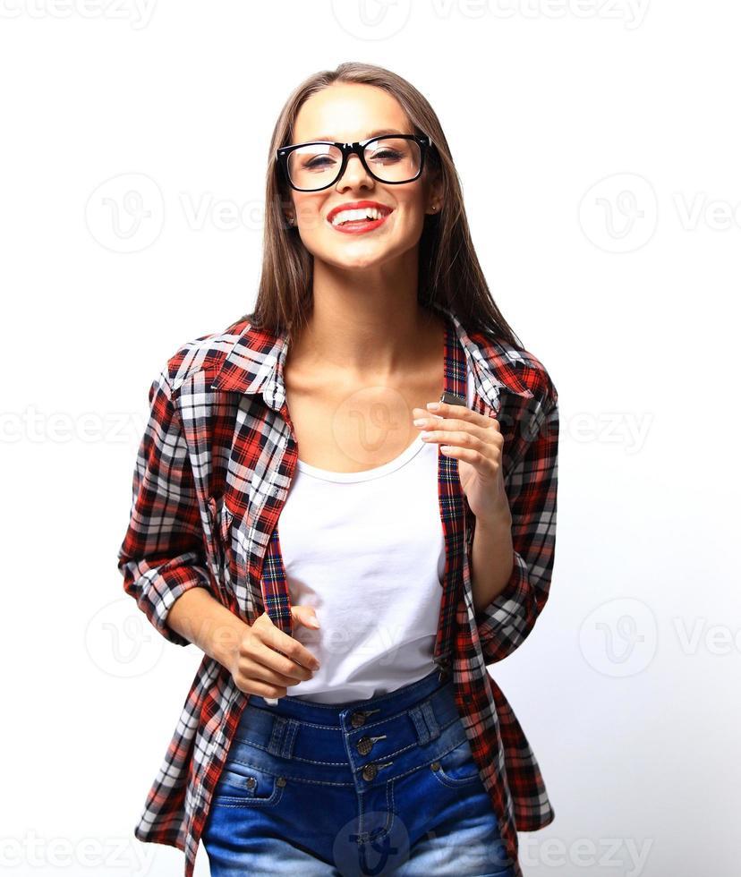 high fashion look.glamor snygg vacker ung kvinna modell foto