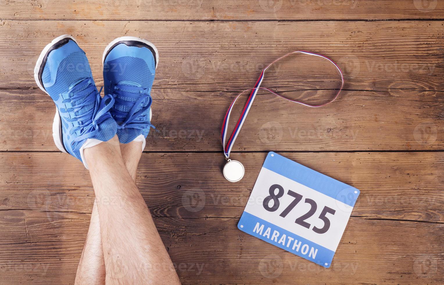 framgångsrik man maratonlöpare foto
