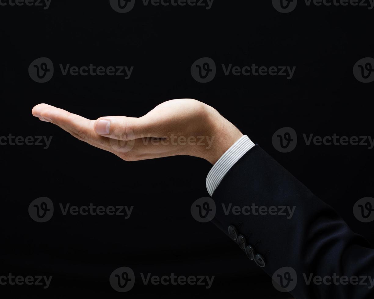 öppen palm hand gest av manliga foto