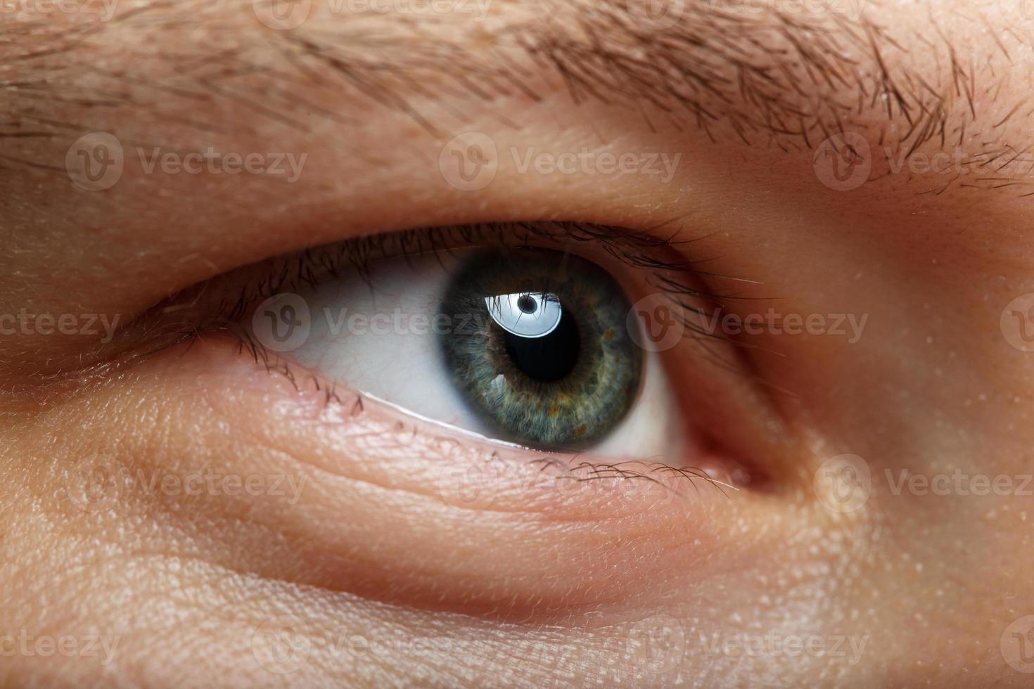 manlig höger grönt öga extrem närbild foto