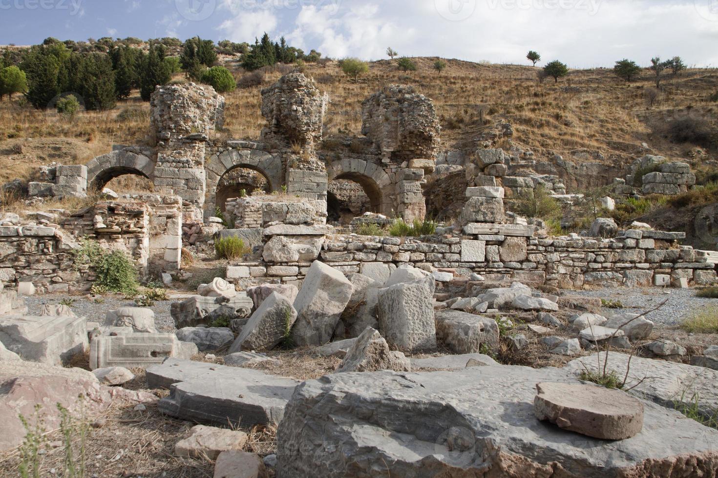 ruiner av offentligt bad, efes, kalkon foto