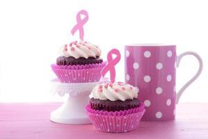 rosa band välgörenhet för kvinnors hälsa medvetenhet cupcakes. foto