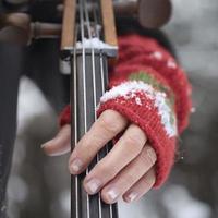 spelar cello utomhus foto