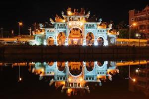 främre porten till ett kinesiskt tempel i hsinchu foto